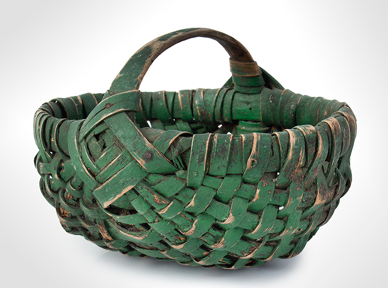 19th Century Small Green Painted Splint Melon Basket, entire view 3
