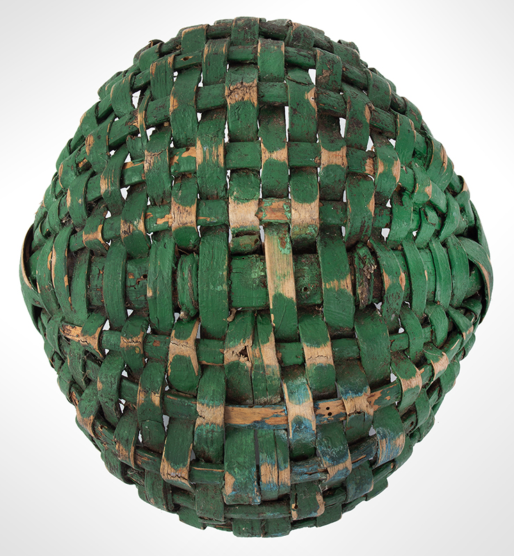 19th Century Small Green Painted Splint Melon Basket, entire view 4