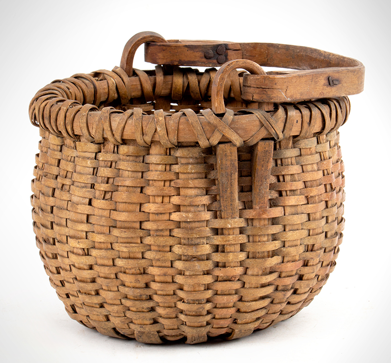 Antique Basket, Ash Splint Swing Handle, Round Double Bottom, Round Top New England or New York State, 19th Century
