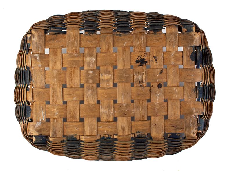Antique Splint Work Basket New England, 19th Century Ash and Dye, bottom view