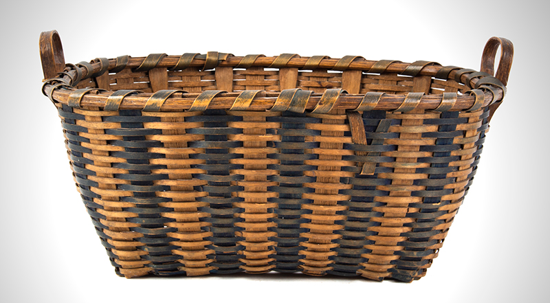 Antique Splint Work Basket New England, 19th Century Ash and Dye, entire view 1