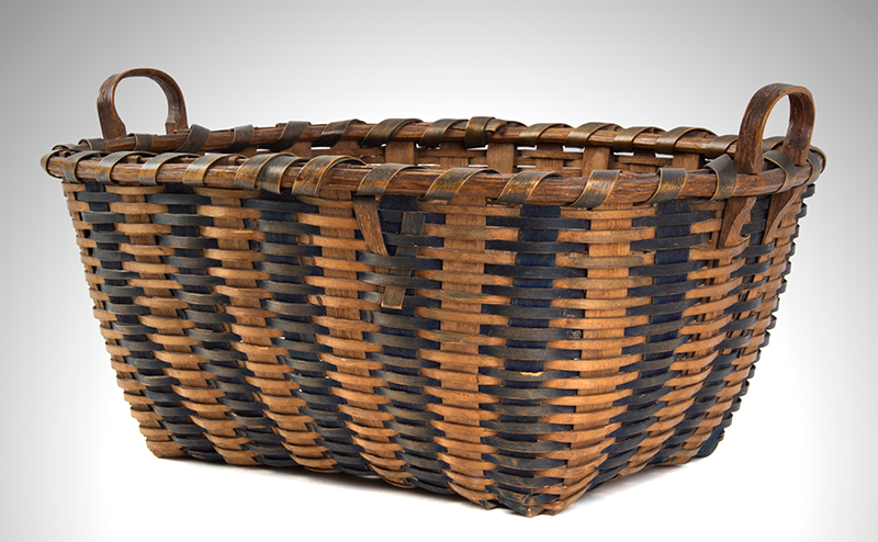 Antique Splint Work Basket New England, 19th Century Ash and Dye, entire view 2