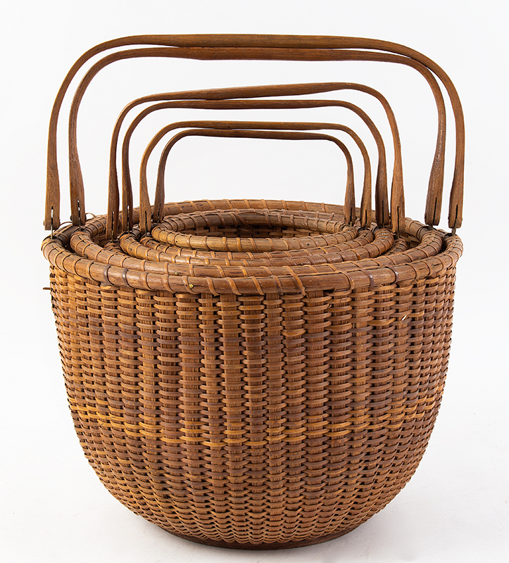 Nantucket Baskets, Nest of Six Nantucket Island, Massachusetts, Early 20th Century A group of six graduated swing-handle lightship baskets, group view 2