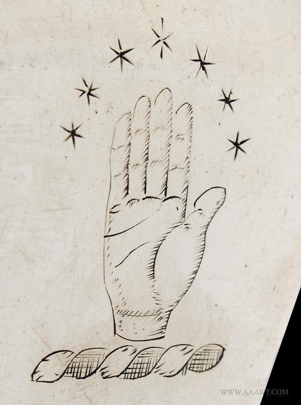 Elias Boudinot Coin Silver Basting Spoon, Princeton, New Jersey c-1750, marks detail 1