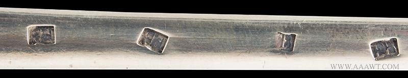 Elias Boudinot Coin Silver Basting Spoon, Princeton, New Jersey c-1750, marks detail 2