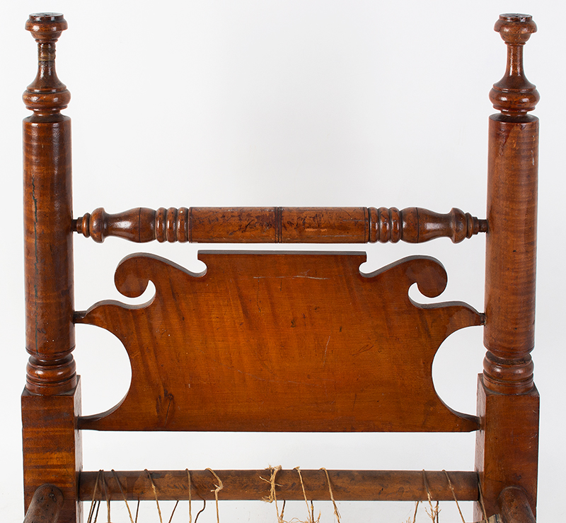 Large Antique Doll Bed, Curly Maple, Scrolled Headboard Pennsylvania, Philadelphia Area, circa 1830 A generously proportioned bed, will comfortable accommodate a 25-inch doll, headboard view
