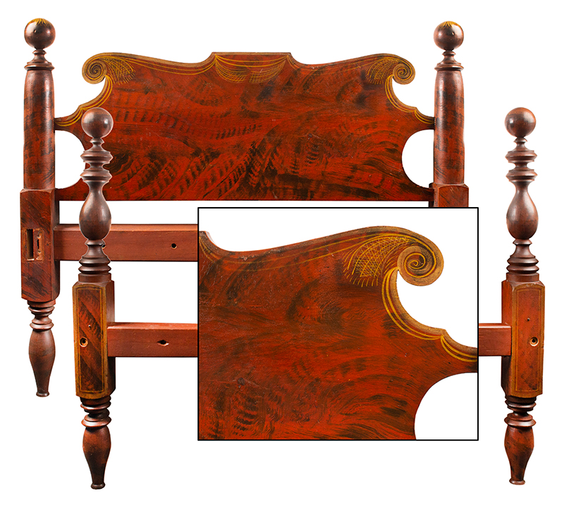 Antique Paint Decorated Bed, Turned Posts, Scrolled Headboard, Original Paint New England, Circa 1820-1830, entire view