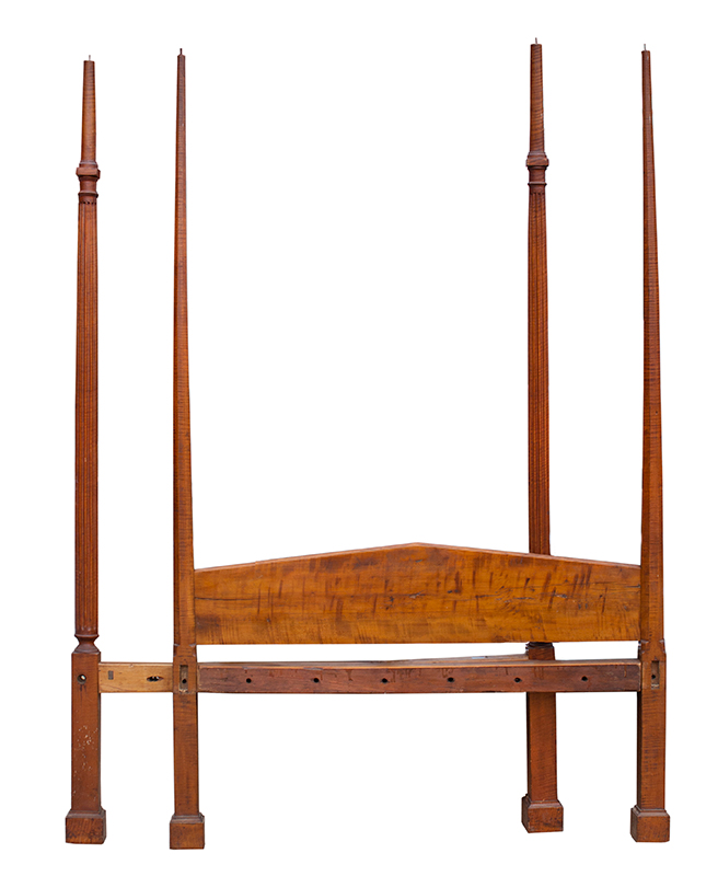 18th Century Chippendale Four-Post Bed, Full Tester, Pencil & Fluted Posts, Curly Maple New England, circa 1750-1780, entire view