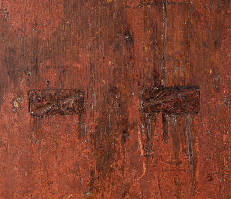 19th Century Painted Bench, Shaped Ends, Mousehole Feet, Original Paint American, Likely Pennsylvania, 19th Century Pine, detail view