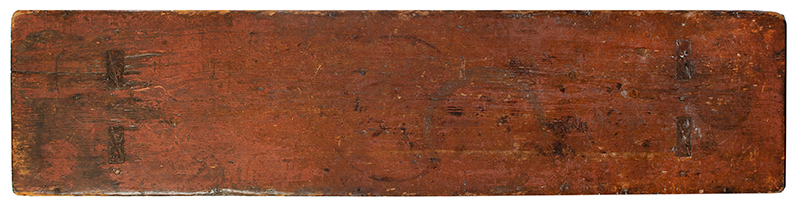 19th Century Painted Bench, Shaped Ends, Mousehole Feet, Original Paint American, Likely Pennsylvania, 19th Century Pine, top view