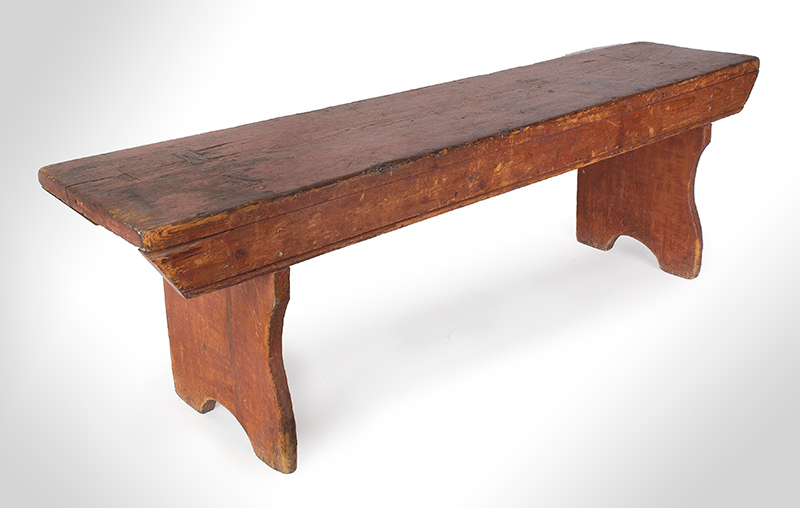 19th Century Painted Bench, Shaped Ends, Mousehole Feet, Original Paint American, Likely Pennsylvania, 19th Century Pine, entire view