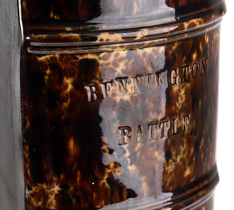 Bennington Flint Enamel Figural Book Flask, Battle of Bennington Book Bottle Probably Lyman and Fenton & Company, Bennington Pottery  Bennington, Vermont, circa 1849, detail view