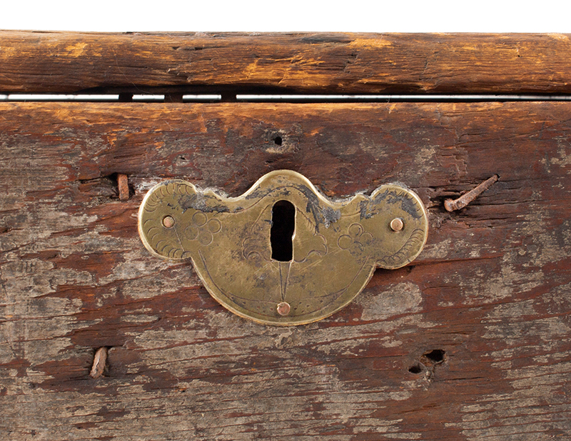 Eighteenth Century American Bible Box, Tabletop Box, Original Paint, Maine, Circa 1730 Historic Surface, eastern white pine, detail view 1