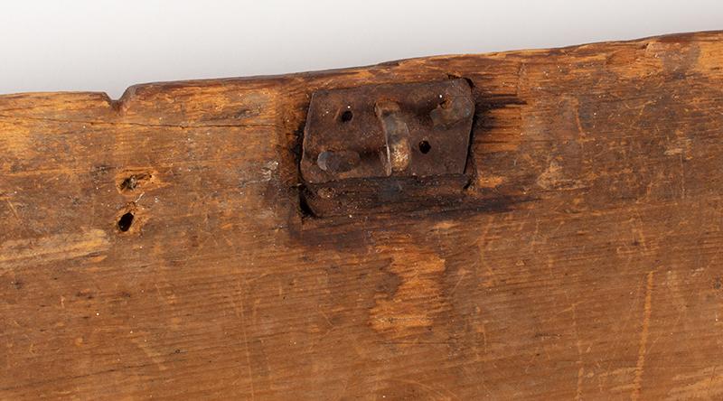 Eighteenth Century American Bible Box, Tabletop Box, Original Paint, Maine, Circa 1730 Historic Surface, eastern white pine, detail view 2