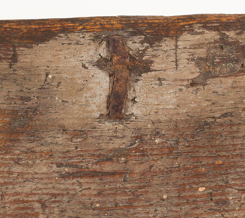 Eighteenth Century American Bible Box, Tabletop Box, Original Paint, Maine, Circa 1730 Historic Surface, eastern white pine, entire view 4