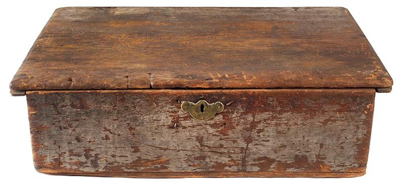 Eighteenth Century American Bible Box, Tabletop Box, Original Paint, Maine, Circa 1730 Historic Surface, eastern white pine, entire view 1