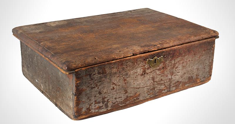 Eighteenth Century American Bible Box, Tabletop Box, Original Paint, Maine, Circa 1730 Historic Surface, eastern white pine, entire view 2