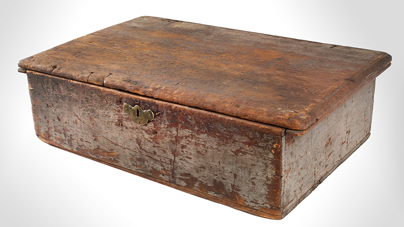 Eighteenth Century American Bible Box, Tabletop Box, Original Paint, Maine, Circa 1730 Historic Surface, eastern white pine, entire view 3