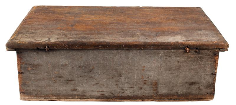 Eighteenth Century American Bible Box, Tabletop Box, Original Paint, Maine, Circa 1730 Historic Surface, eastern white pine, entire view 5