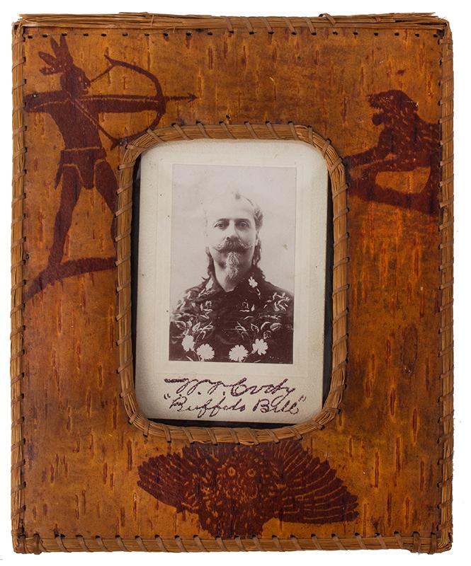 W.F. Cody, Buffalo Bill Cabinet Card Photo, Birchbark Frame, entire view 1