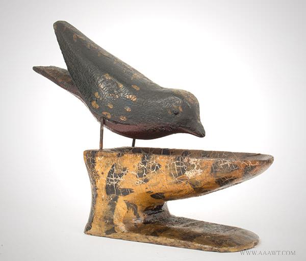 Carved and Painted Bird Toothpick Holder, Joseph Romaud Bernier (1873 – 1952) Biddeford, Maine, Circa 1890, entire view