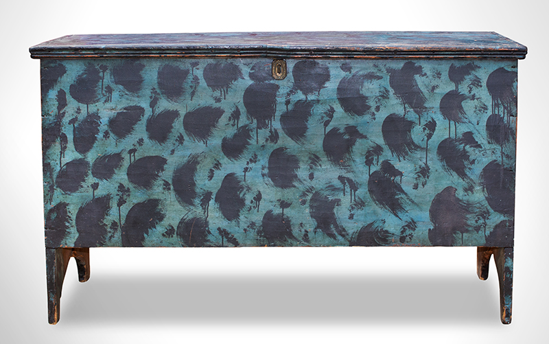 Folk Art Blanket Box, Original Painted Decoration, Black on Blue, Basswood Likely Maine, circa 1810-1820, entire view