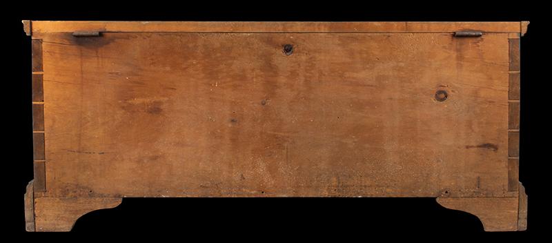 Antique Blanket Chest, Shaker, Original Blue Paint Found Near Watervliet, New York, Circa 1830-1850 Eastern white pine, back view