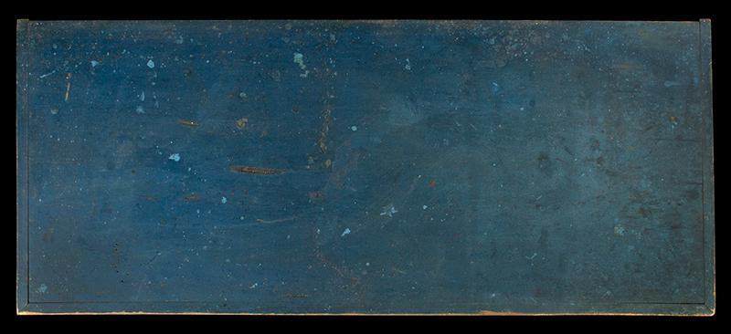 Antique Blanket Chest, Shaker, Original Blue Paint Found Near Watervliet, New York, Circa 1830-1850 Eastern white pine, top view