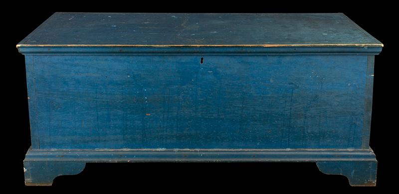 Antique Blanket Chest, Shaker, Original Blue Paint Found Near Watervliet, New York, Circa 1830-1850 Eastern white pine, entire view 2