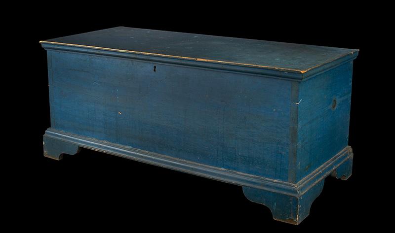 Antique Blanket Chest, Shaker, Original Blue Paint Found Near Watervliet, New York, Circa 1830-1850 Eastern white pine, entire view 4