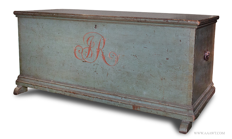 "Blanket Chest, Original Paint, Shoe Feet, Initialed ""JR"" Mohawk Valley, New York, Circa 1800, angle view"