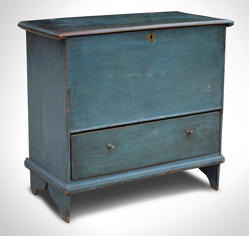 18th Century Blanket Chest in Blue Paint, Only 36.75 Inches Wide Coastal Connecticut, circa 1730 Ex Lillian Blankley Cogan Collection, entire view 1