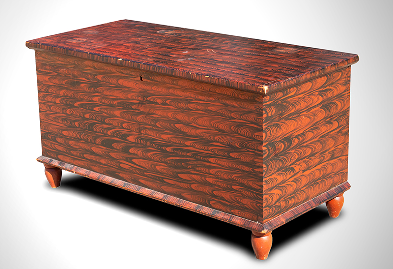 Paint Decorated Blanket Chest on Turnip Feet Pennsylvania, circa 1840, angle view