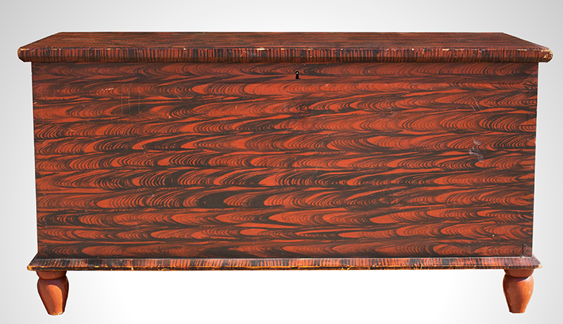 Paint Decorated Blanket Chest on Turnip Feet Pennsylvania, circa 1840, entire view