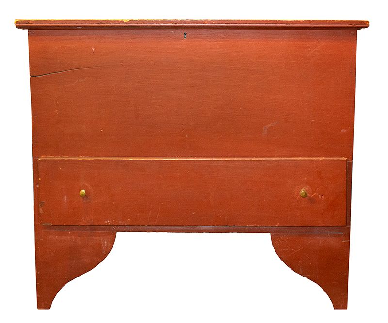 Antique Painted Blanket Chest on Tall Ogee Cutout Feet, Original Red Paint New England, Circa 1800-1825 Outstanding front and side foot profiles, entire view