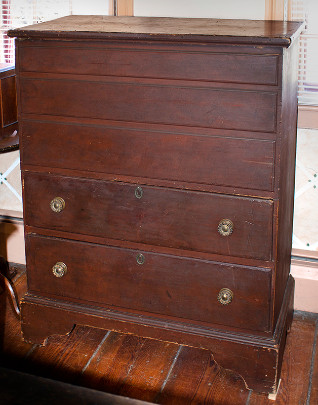 Tall Antique Blanket Chest, Lift Top, Three False over Two Working Drawers Façade, Old Red Paint Connecticut, Circa 1760, entire view