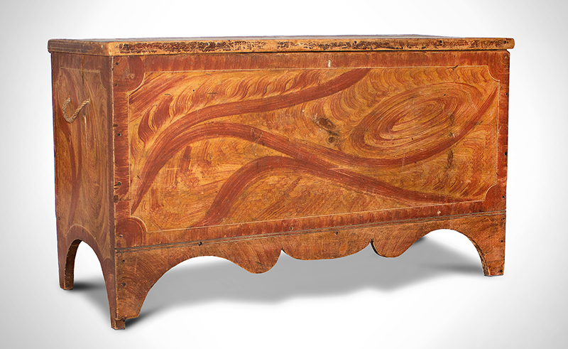 Antique Vermont Paint Decorated Blanket Chest in Original Surface, Circa 1820, entire view