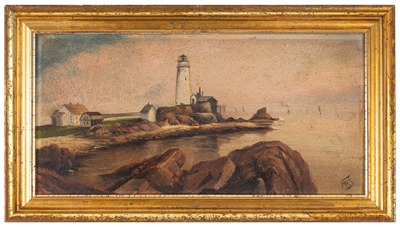 Boston Lighthouse Painting Oil on Board, Signed F.W.S