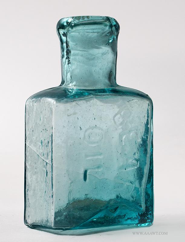 Bears Oil Medicine Bottle,1830 – 1850, Aquamarine, Fine Condition, entire view