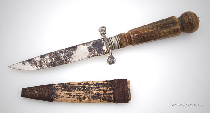 Bowie Knife, Miniature Knife, Horn Handle, Paper Scabbard and Iron Fittings, entire view