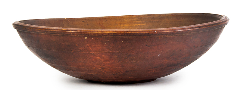 Early Treen Bowl, Beehive Turnings, Original Red Paint  New England, circa 1800, entire view 1