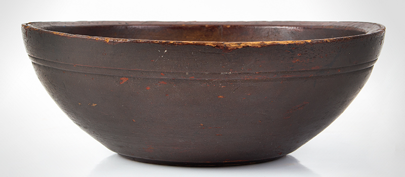 Early Turned Bowl, Rare Size, Original Surface History New England. 19th Century Much smaller than the standard mixing/chopping bowl, entire view 1