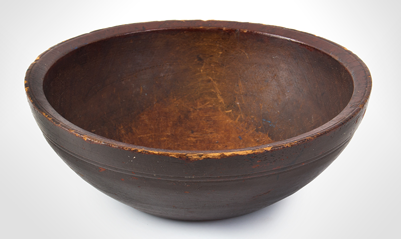 Early Turned Bowl, Rare Size, Original Surface History New England. 19th Century Much smaller than the standard mixing/chopping bowl, entire view 2
