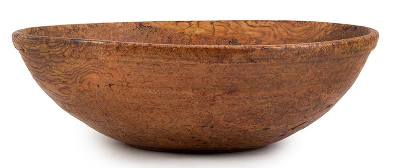18th Century, Large Burl Bowl, Molded Collar Rim, 21 Inches New England, Circa 1780-1820 Ash burl, entire view 1