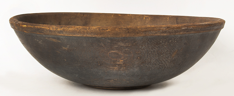 Antique, Large Treen Mixing Bowl in Steel Blue-Gray Paint, Lipped & Footed New England, 19th Century, entire view 1