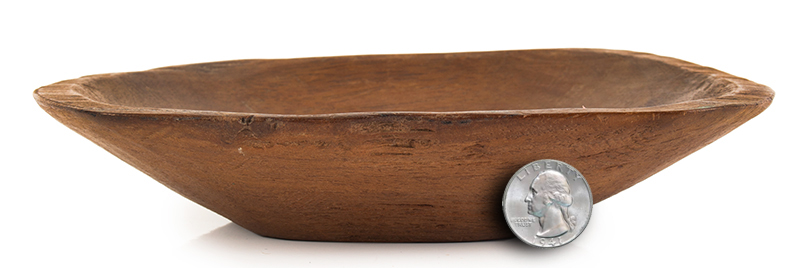 19th Century Miniature Chopping Bowl American, scale view
