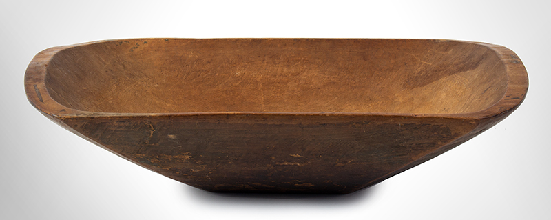 19th Century New England Trencher, Treen Chopping Bowl  Maple, circa 1840 Carved oblong form, strong traces of olive/apple green paint and grunge patina, entire view 1