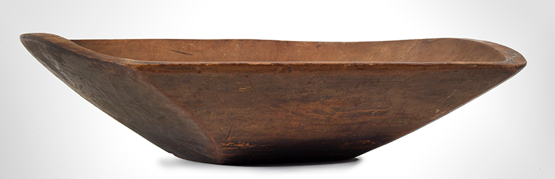 19th Century New England Trencher, Treen Chopping Bowl  Maple, circa 1840 Carved oblong form, strong traces of olive/apple green paint and grunge patina, entire view 3