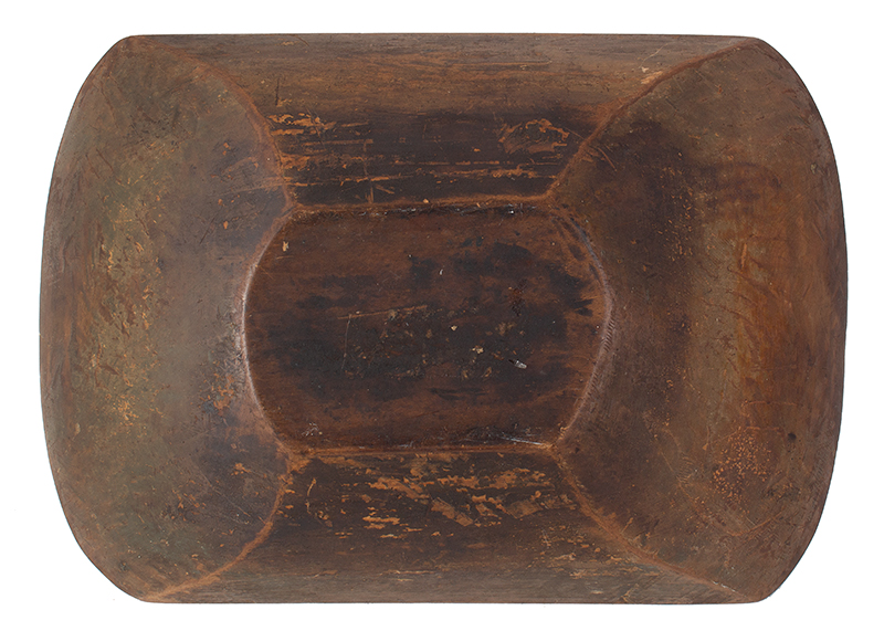 19th Century New England Trencher, Treen Chopping Bowl  Maple, circa 1840 Carved oblong form, strong traces of olive/apple green paint and grunge patina, entire view 4