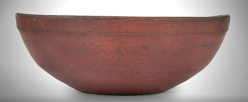 Antique Treen Bowl, Beehive Turned, Original Red Paint, Great Patina, Small Size New England, Circa 1780-1820, entire view 1